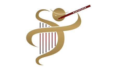 Flute and Harp with player icon Illustration