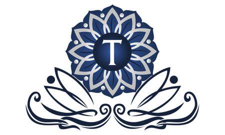 Fleur icône élégante initial t Banque d'images - 91454564
