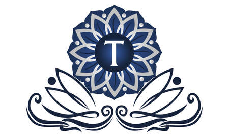 Flower Elegant icon Initial T Illustration