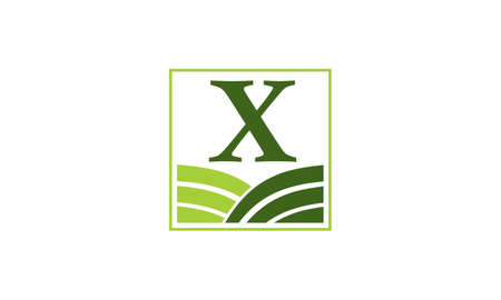 Green project solution center initial X icon, vector illustration. Illustration