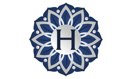 Flower elegant initial H icon, vector illustration. Vettoriali