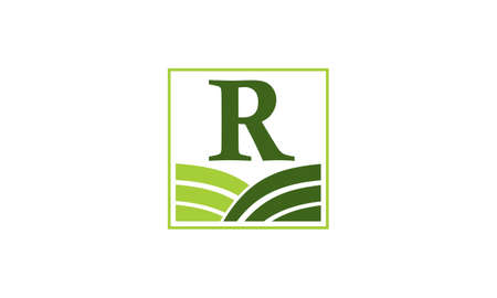 Green project solution center initial R icon, vector illustration.