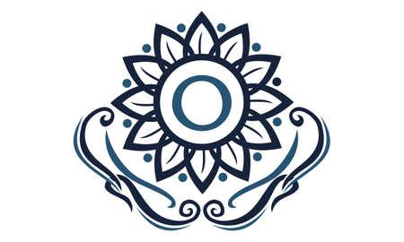 Flower Elegance Initial O icon logo Vector illustration. Ilustração