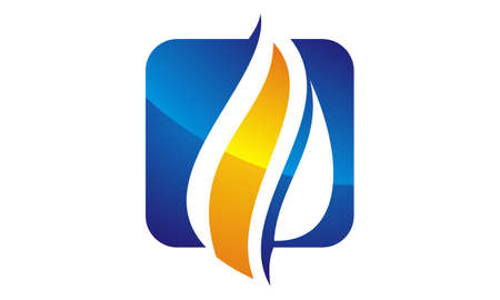 Water Fire Flame Gas Oil icon logo Vector illustration.