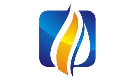 Wasser-Feuer-Flammen-Gas-Ölikone Logo Vector Illustration.