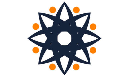 Wealth Management Sun Flower icon logo Vector illustration.
