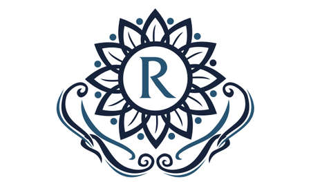 Fleur Elegance Initial R icône logo Vector illustration. Banque d'images - 91524895