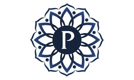 Flower Elegance Initial P symbol template design. Ilustração