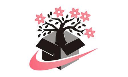 Flower Delivery Logo Design Template Vector