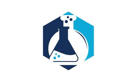 Flask hexagon Logo Design Template Vector