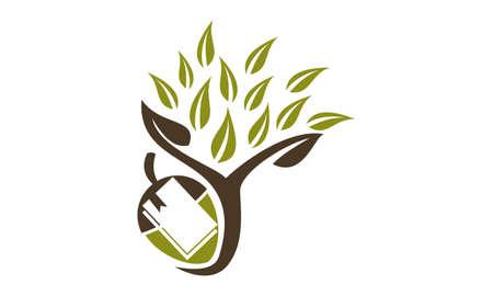 Tree book and fruit logo design Stock Illustratie