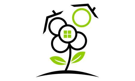 Eco Home Logo Design Template Vector