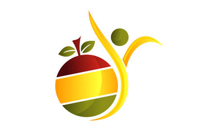 Healthy life with fruit symbol template design.