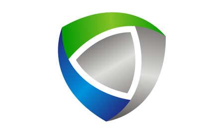 Dynamic Shield Logo Design Template Vector Illustration