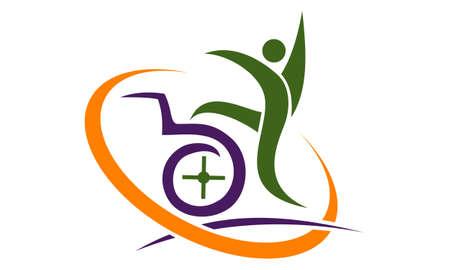 Behinderungs-Sorgfalt-Logo Design Template Vector Standard-Bild - 91795609