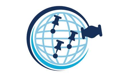 Global Online Auction symbol icon design. Illustration
