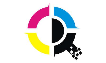 Digital printing symbol icon design.  イラスト・ベクター素材