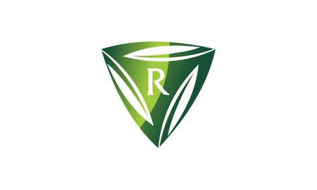 Swoosh Leaf Dynamic Rotation Center Letter R icon design. Ilustração