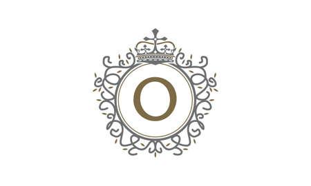 Crown Leaf Logo Initial O vector illustration.