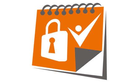 Date Lock Solution logo vector illustration.
