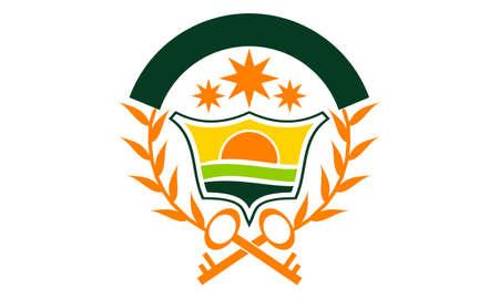 Shield Crown Leaf logo vector illustration.
