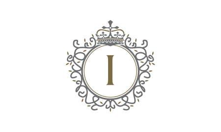 Crown Leaf Logo Initial I Çizim