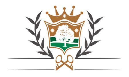Shield Crown Leaf vector