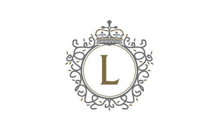 Crown Leaf Logo Initial L vector illustration. Illusztráció