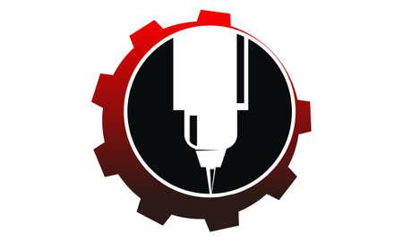 CNC Service Logo Design Template Vector