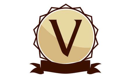 Modern round icon Solution Letter V