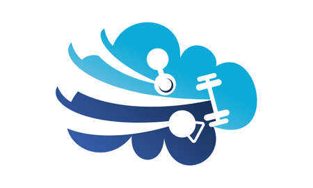 Fitness Cloud Service Logo Concept Design.