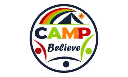 Camp Believe Logo Design Template Vector