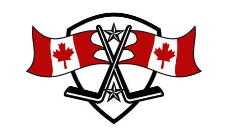 Hockey Logo Concept Design Template with Canada flag