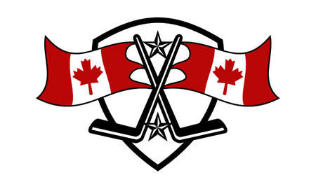 Hockey Logo Concept Design Template with Canada flag