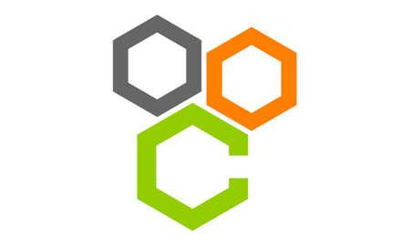 Hexagon Letter C 向量圖像