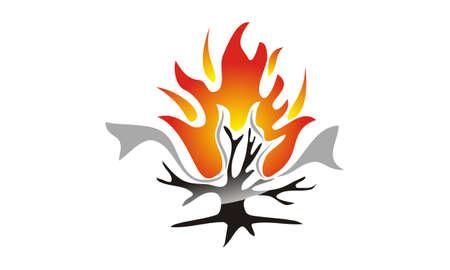 Brandende bush technologie pictogram ontwerp sjabloon illustratie. Stock Illustratie