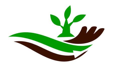 Boerderij en tuin zorg pictogram ontwerp sjabloon illustratie. Stock Illustratie