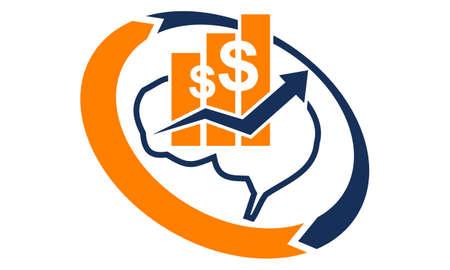 Brain business strategy icon design template illustration.