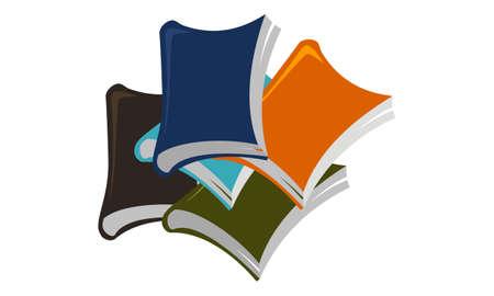 Stacked Books emblem Design Template Vector Illustration