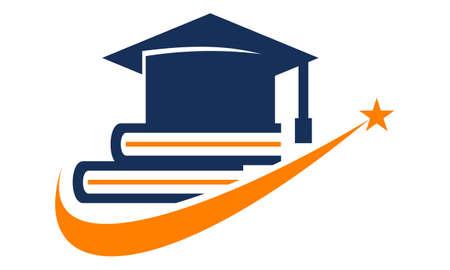 Books and a Graduation Cap vector illustration