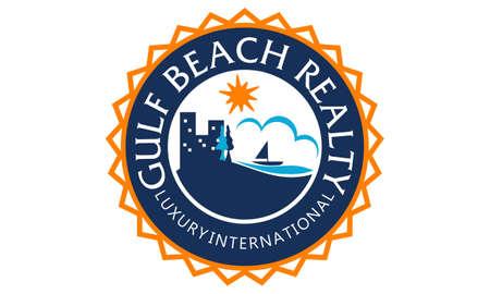 Beach realty design template illustration.