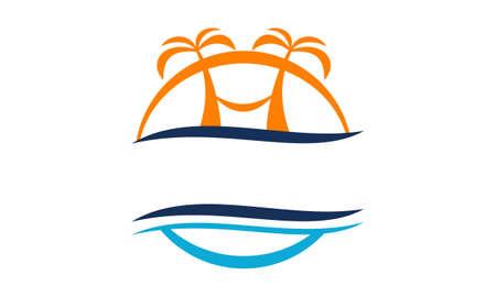 Beach travel holiday design template illustration. Illustration