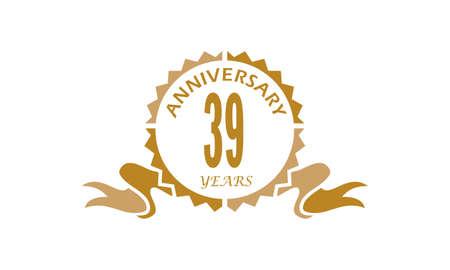 39 Years Ribbon Anniversary Illustration