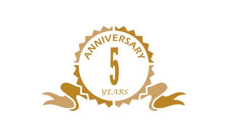 5 Years Ribbon Anniversary vector illustration. Illustration