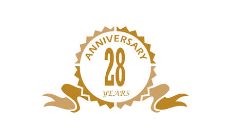 28 Years Ribbon Anniversary vector illustration.