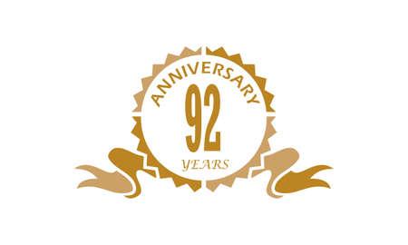 92 Years Ribbon Anniversary vector illustration. Illustration
