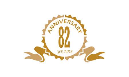 82 Years Ribbon Anniversary Illustration