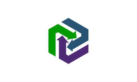 Vetor de modelo de Design de logotipo de sinergia de seta Logos