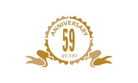 59 Years Ribbon Anniversary Vector illustration.