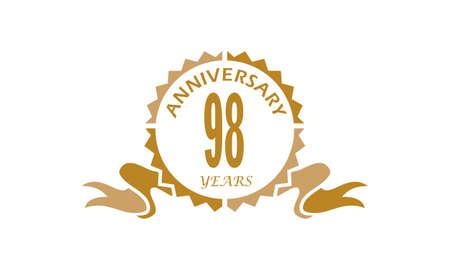 98 Years Ribbon Anniversary Vector illustration. Illustration